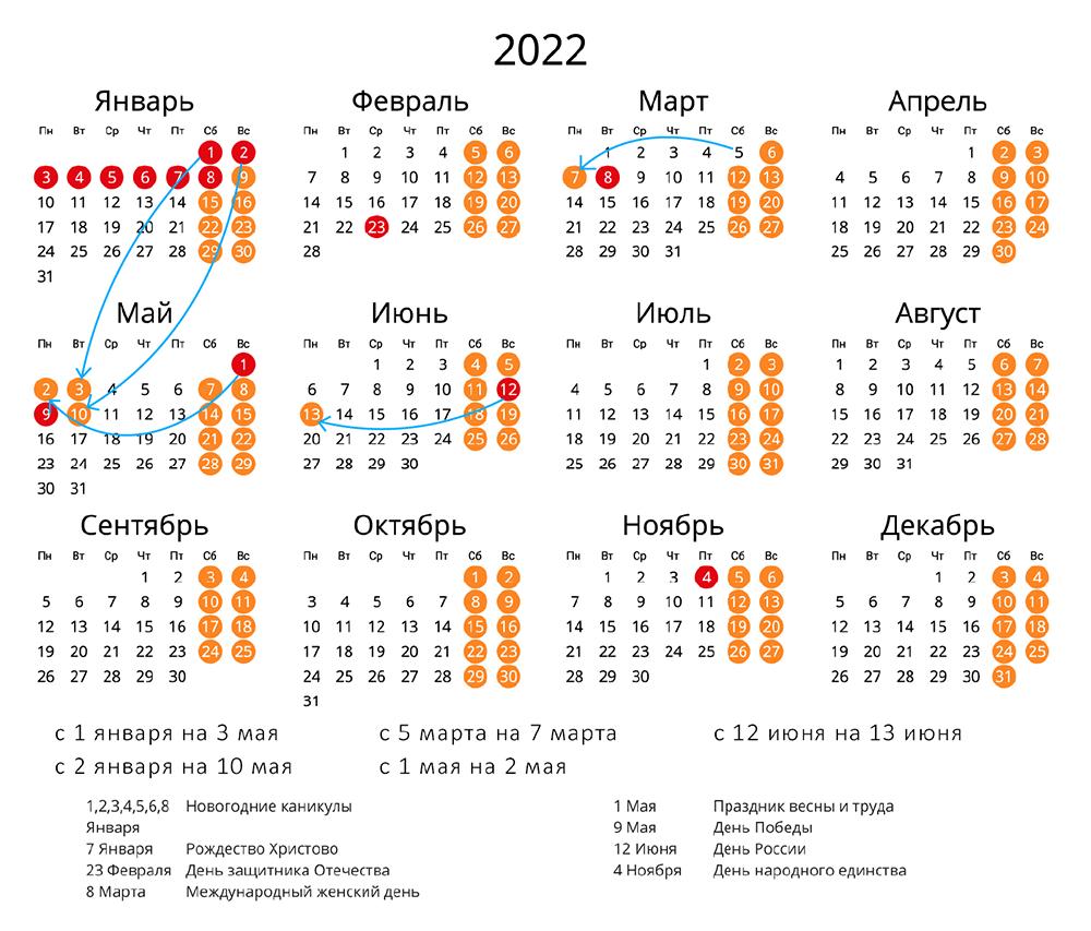 Календарь 2022 с праздниками