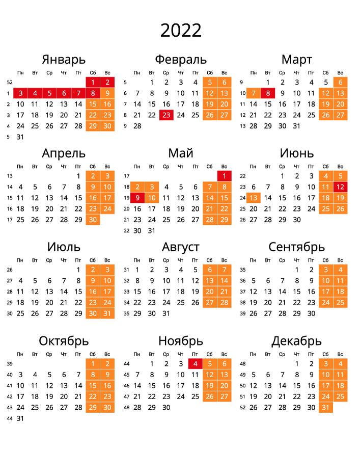 Календарь на 2022 - С номерами недель