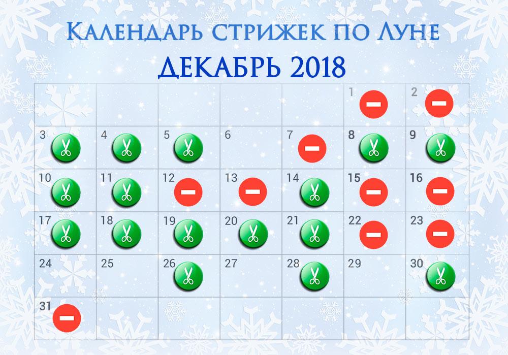 Лунный календарь стрижек на декабрь 2018