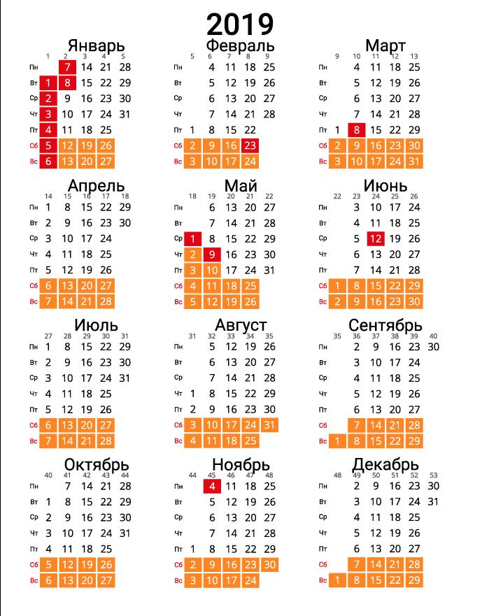 Вертикальный календарь на 2019 - с номерами недель