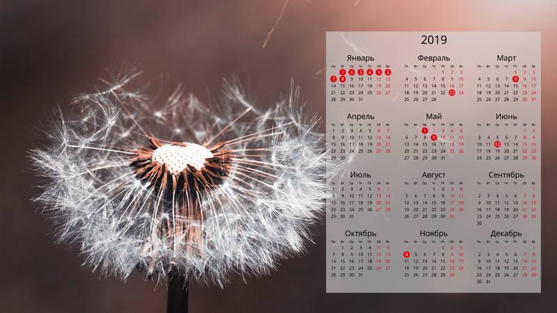 Заставка на рабочий стол с календарем на 2019 год