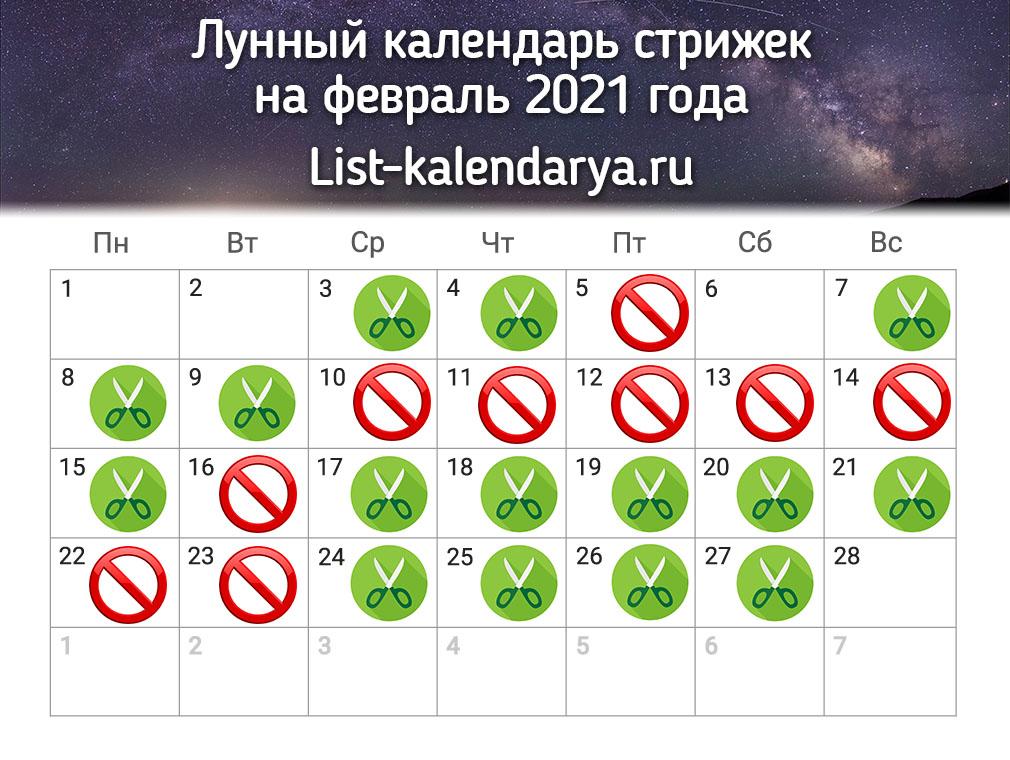 Lunnyj Kalendar Strizhek Na Fevral 2021 Goda Blagopriyatnye Dni