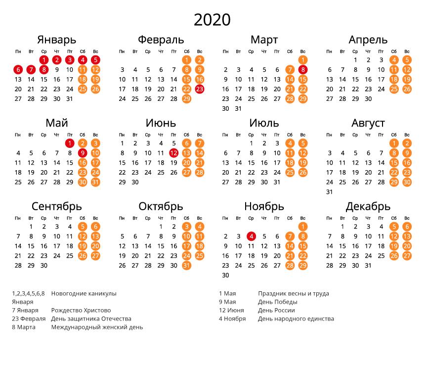 Календарь на 2020 - С праздниками