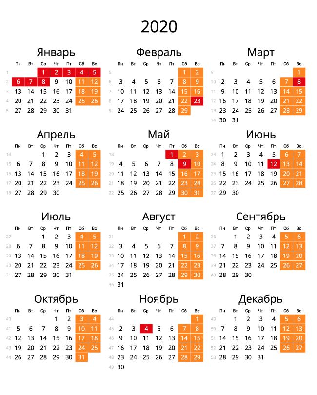 Календарь на 2020 - С номерами недель