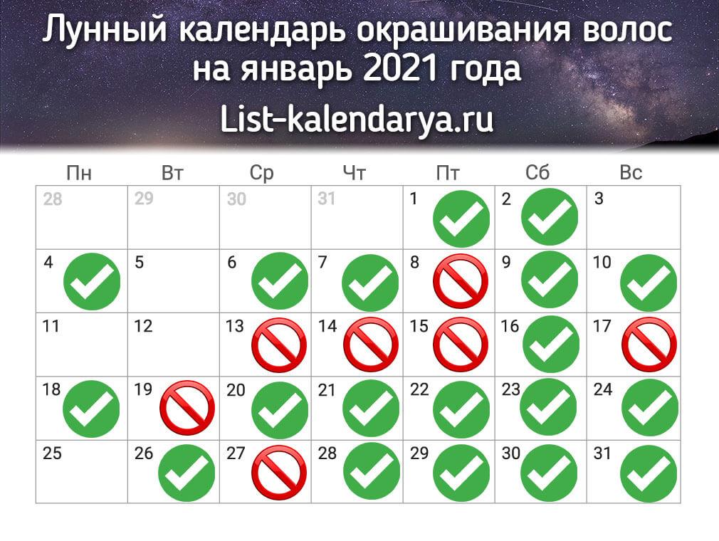 Лунный календарь окрашивания на январь 2021 года