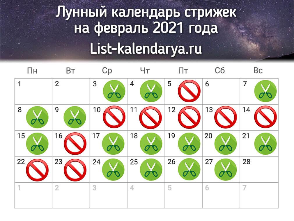 Лунный календарь стрижек на февраль 2021 года