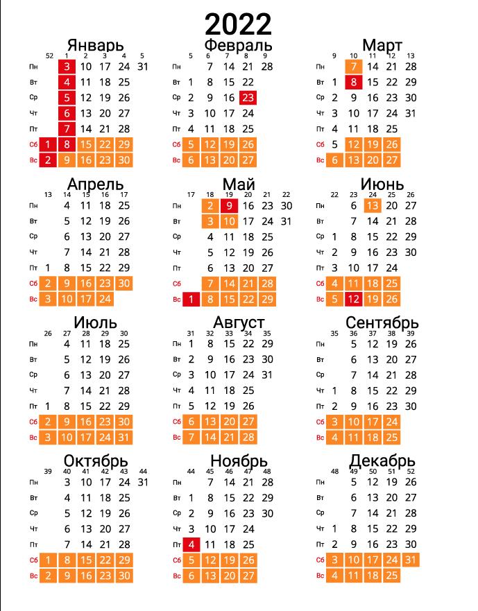 Вертикальный календарь на 2022 - с номерами недель